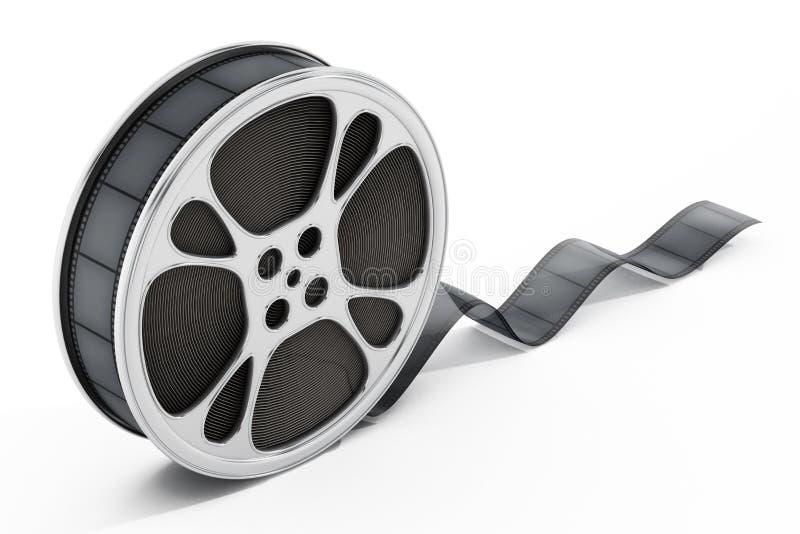Film reel isolated on white background. 3D illustration royalty free illustration