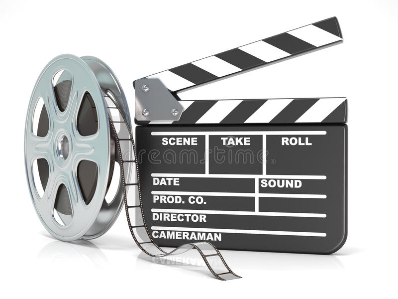 Film reel and movie clapper board. Video icon. 3D render vector illustration