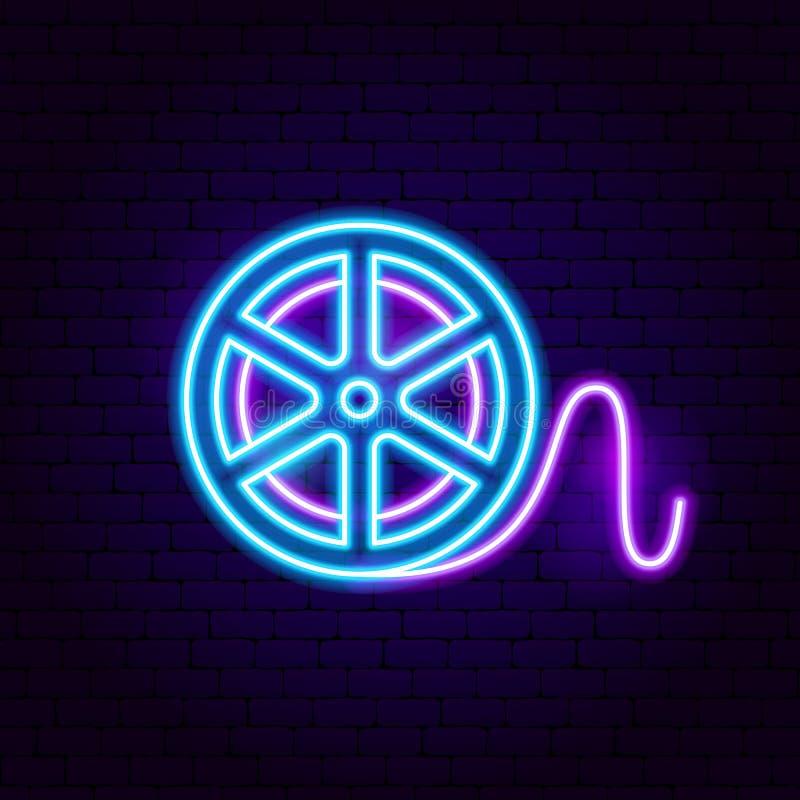 Film Reel Neon Sign. Vector Illustration of Movie Promotion vector illustration