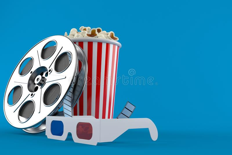 Film reel with popcorn and 3d glasses. Isolated on blue background. 3d illustration vector illustration