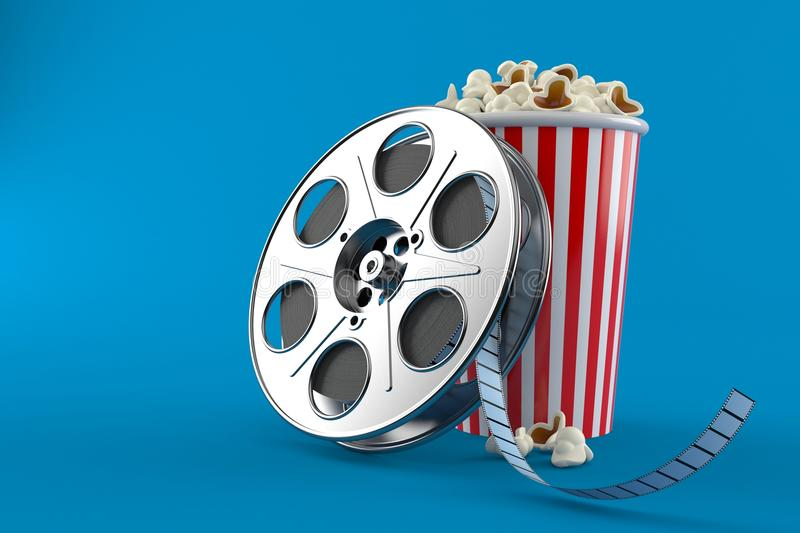 Film reel with popcorn. Isolated on blue background. 3d illustration vector illustration
