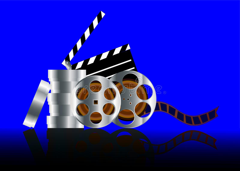Film in reel with reflection. Illustration film in reel with reflection on turn blue background royalty free illustration