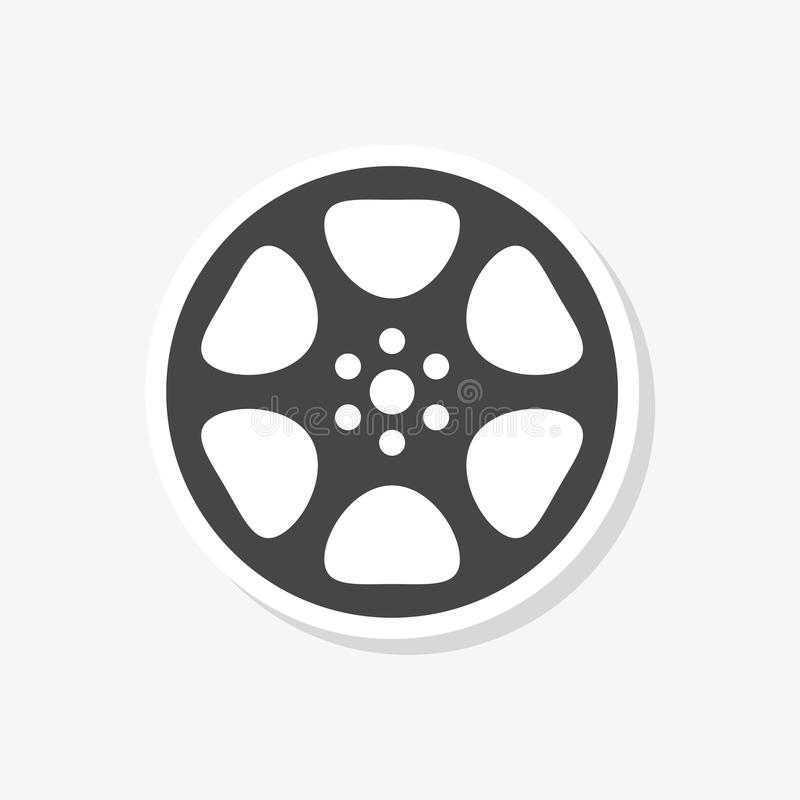 Film reel sticker, The video icon, Movie symbol, simple vector icon royalty free illustration