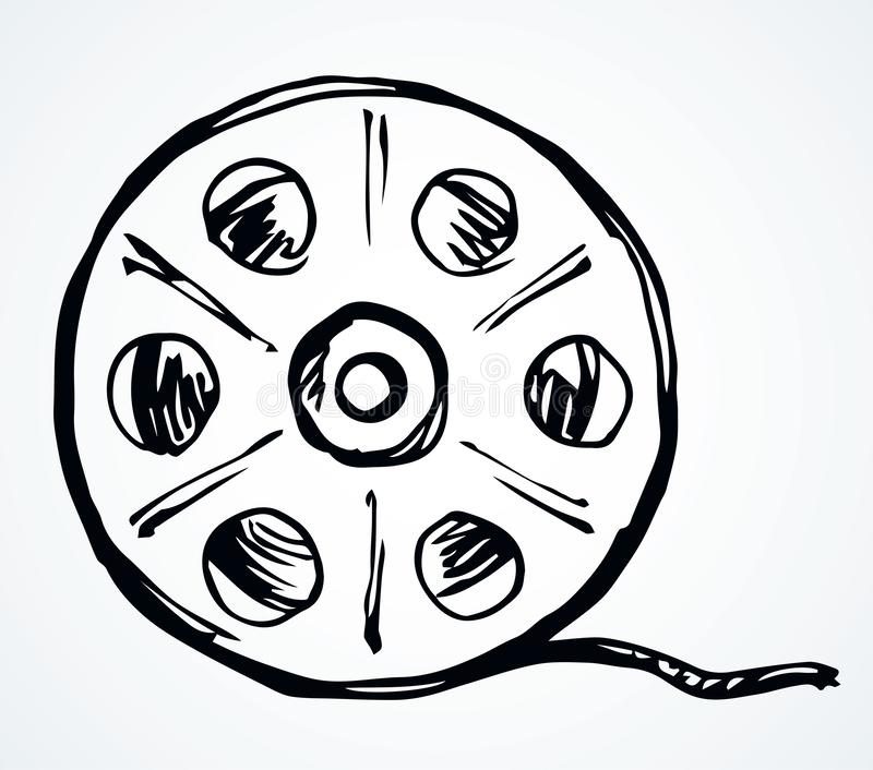 Film reel symbol. Vector drawing royalty free illustration