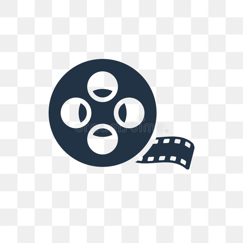 Film Reel vector icon isolated on transparent background, Film R royalty free illustration