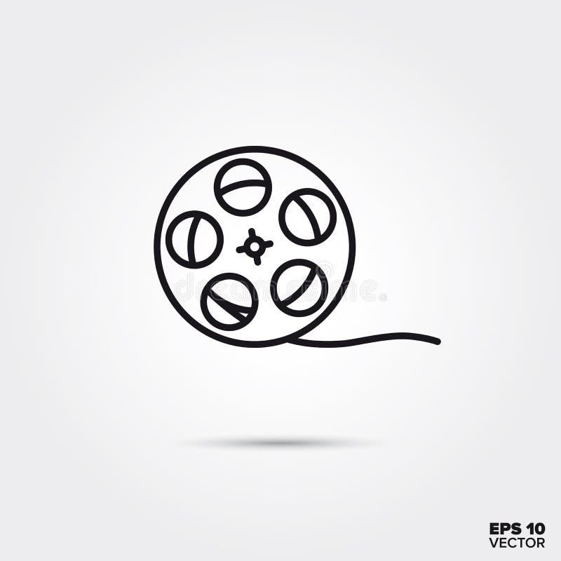 Film reel vector line icon vector illustration