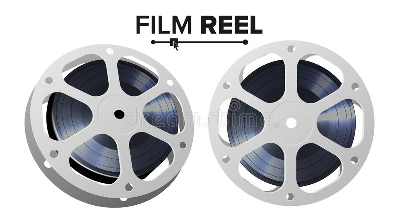 Film Reel Vector. Retro Movie Object. Classic Twisted Cinema Tape. Isolated Illustration. royalty free illustration