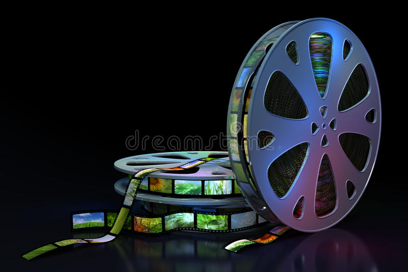 Film reels. Full of film with images vector illustration