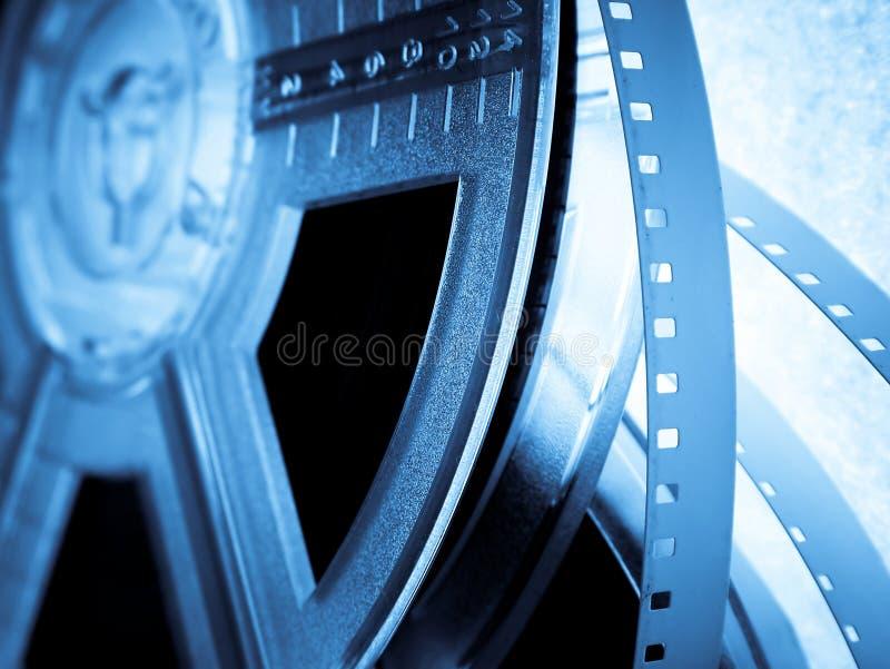 Film reels. Blue Film reels closeup. Movie industry concept royalty free stock photos