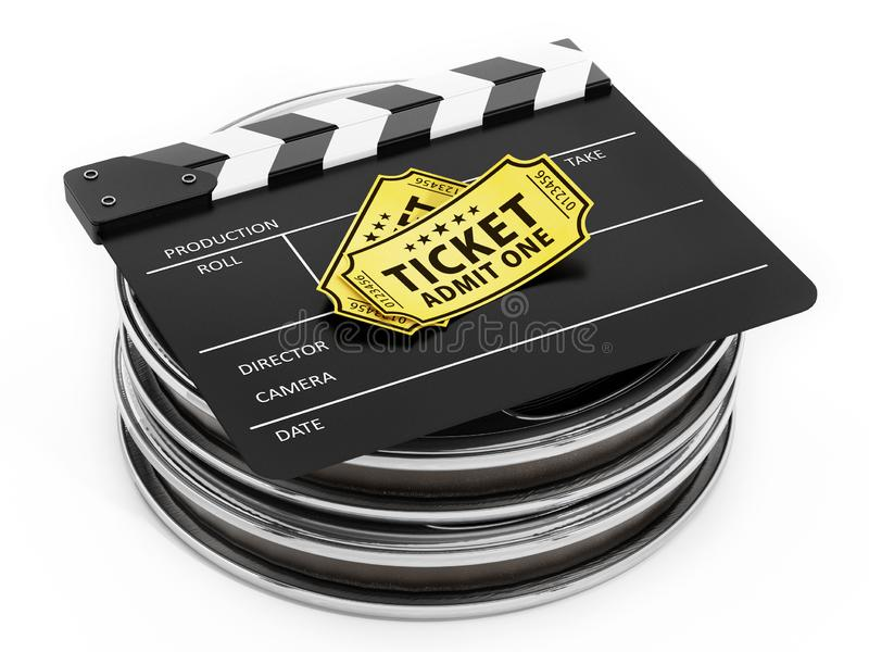 Film reels, clapboard and cinema tickets isolated on white. 3D illustration vector illustration