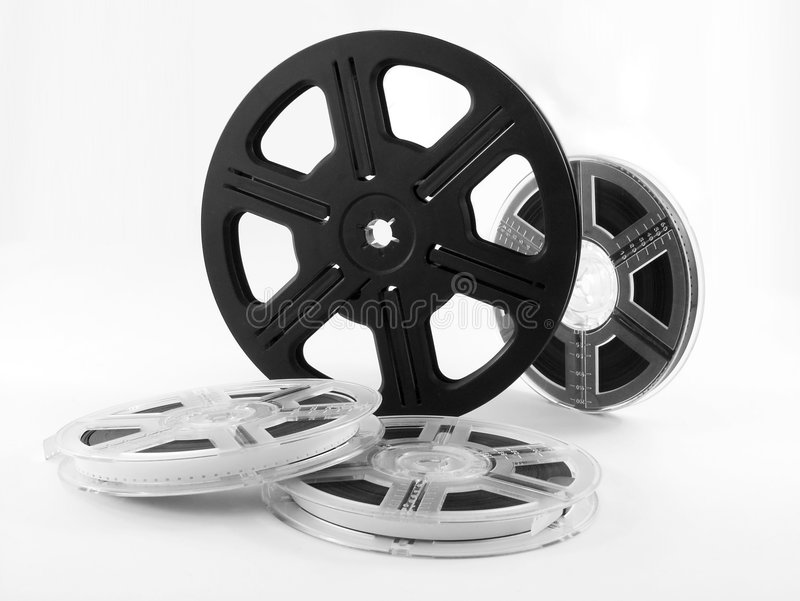 Film reels - movie. Film reels isolated. Movie - film rolls stock photos