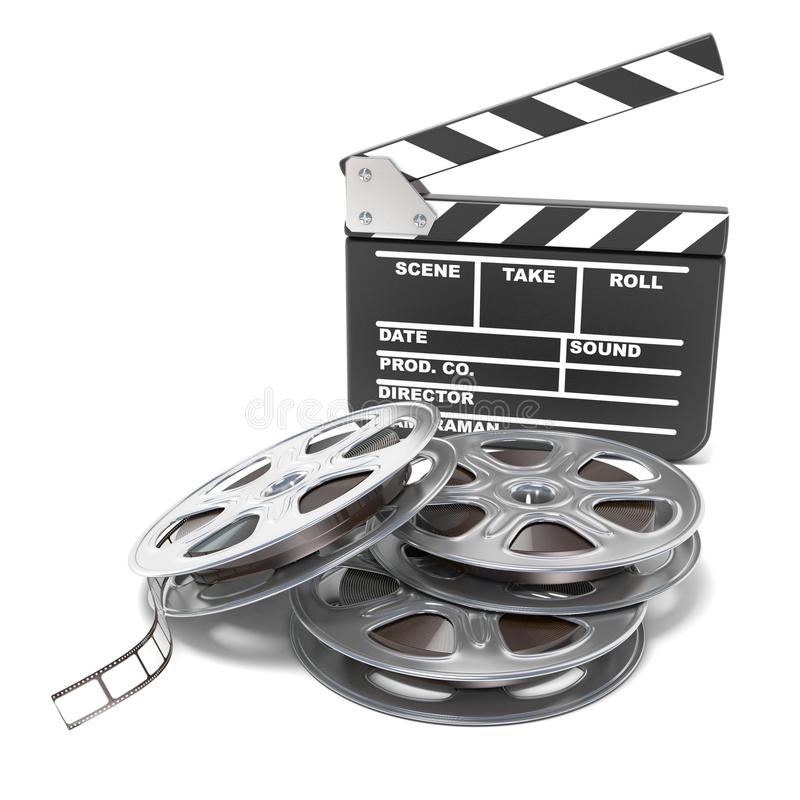 Film reels and movie clapper board. Video icon. 3D render. Illustration isolated on white background vector illustration