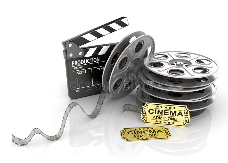 Film Reels, tickets and clapper board. Video icon vector illustration