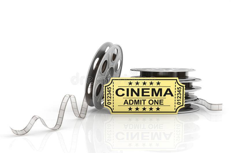 Film Reels, tickets and clapper board. Video icon stock illustration