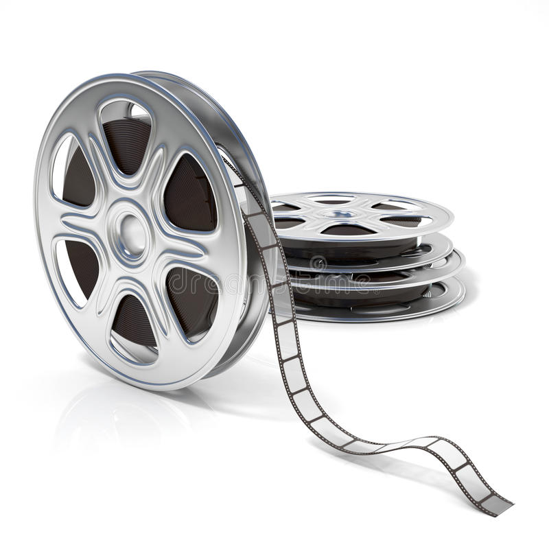 Film reels. Video icon. 3D render. Illustration isolated on white background royalty free illustration