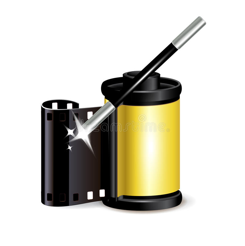 Film role with magic wand isolated royalty free illustration