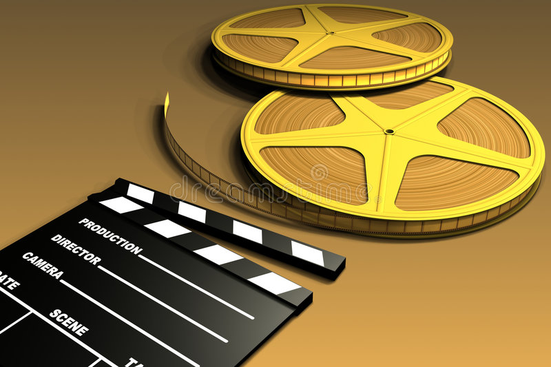 Download Film Roll And Clapboard stock illustration. Image of project - 1436701