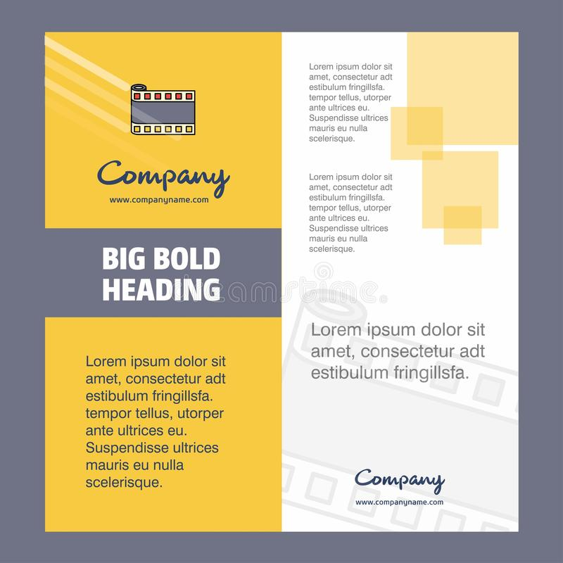 Film roll Company Brochure Title Page Design. Company profile, annual report, presentations, leaflet Vector Background stock illustration