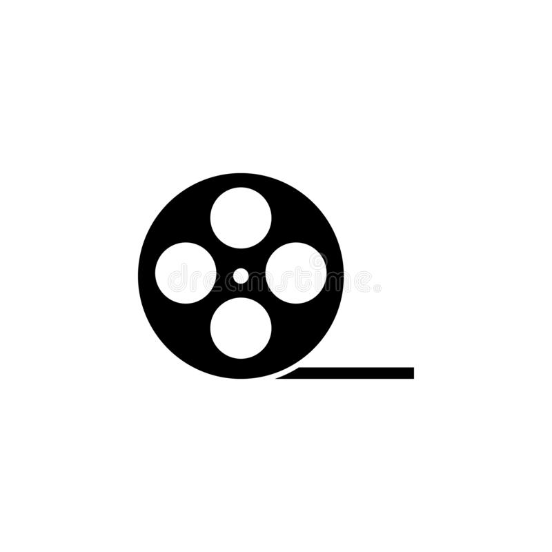 Film roll icon vector or video camera tape reel flat sign symbols logo illustration isolated on white background black color. stock illustration