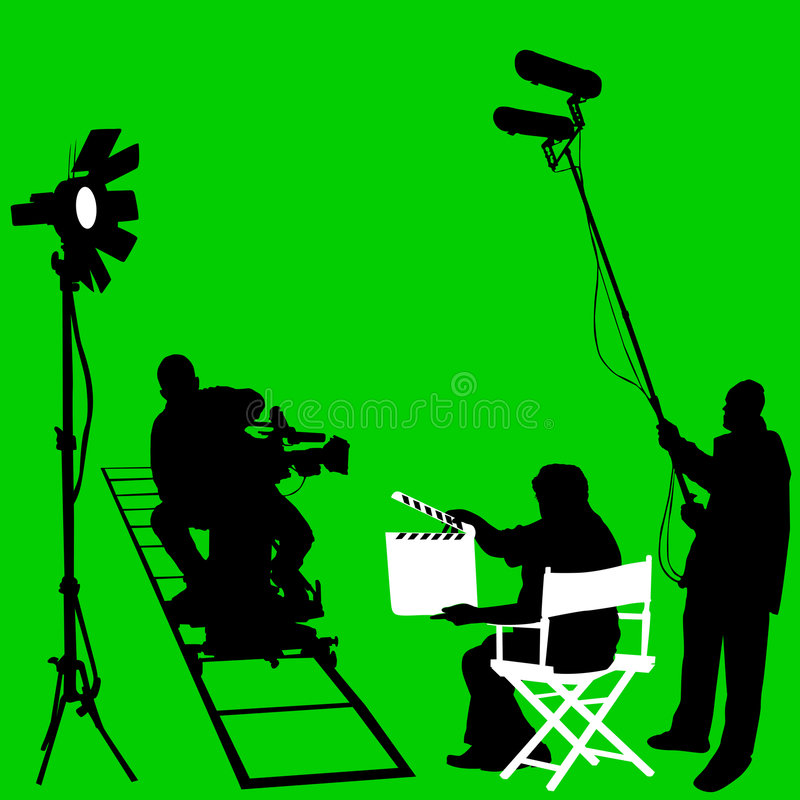 Film set vector. Film set and cameraman vector stock illustration