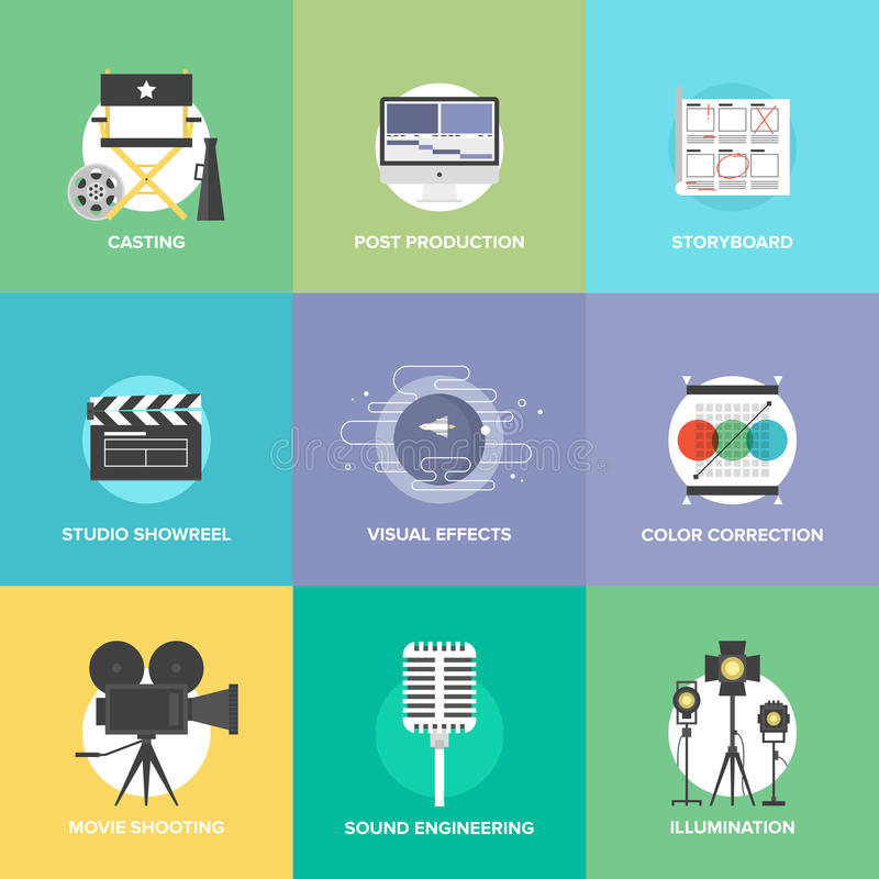 Film shooting and production flat icons set stock illustration