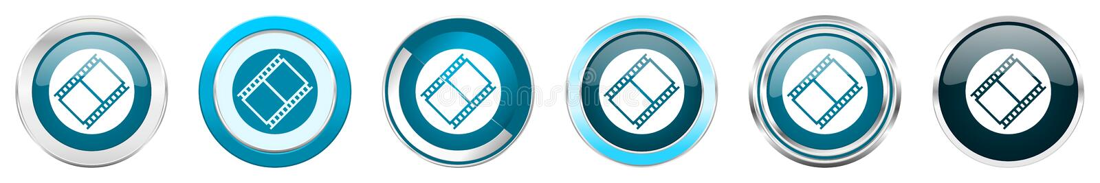 Film silver metallic chrome border icons in 6 options, set of web blue round buttons isolated on white background vector illustration