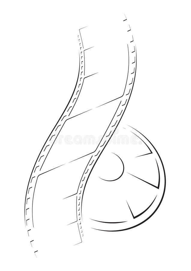Film sketch. Sketched camera film isolated on white background royalty free illustration
