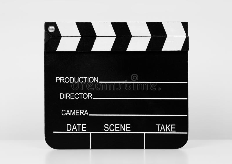 Film Slate. Real Vintage Wooden Film Slate on white background stock photography