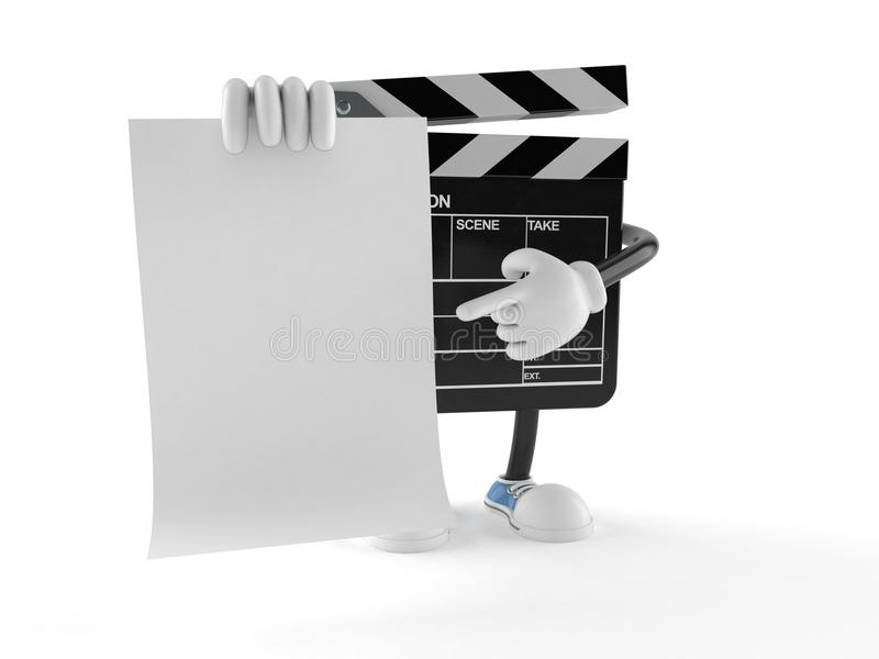 Film slate character with blank sheet of paper royalty free illustration