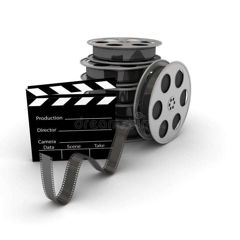 Film Slate with Movie Film Reel. 3d rendered image vector illustration