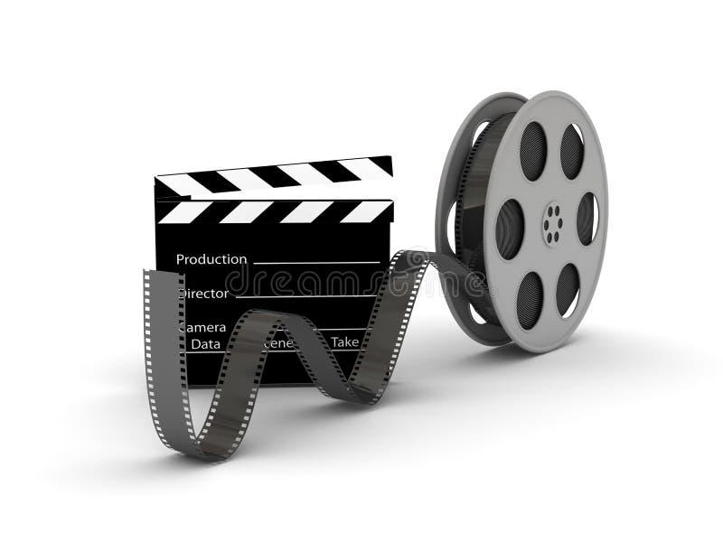 Film Slate with Movie Film Reel. 3d rendered image stock illustration
