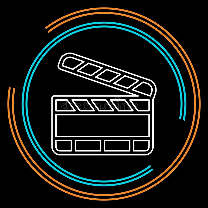 Film slate - vector clip play button icon. Movie media symbol - start watch or play video. Thin line pictogram - outline stroke stock illustration