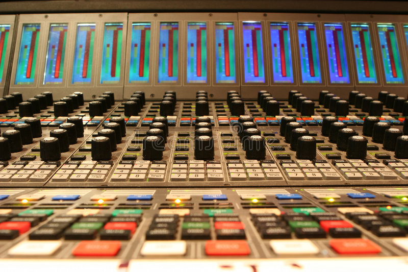 Film soundtrack mixing console royalty free stock photos