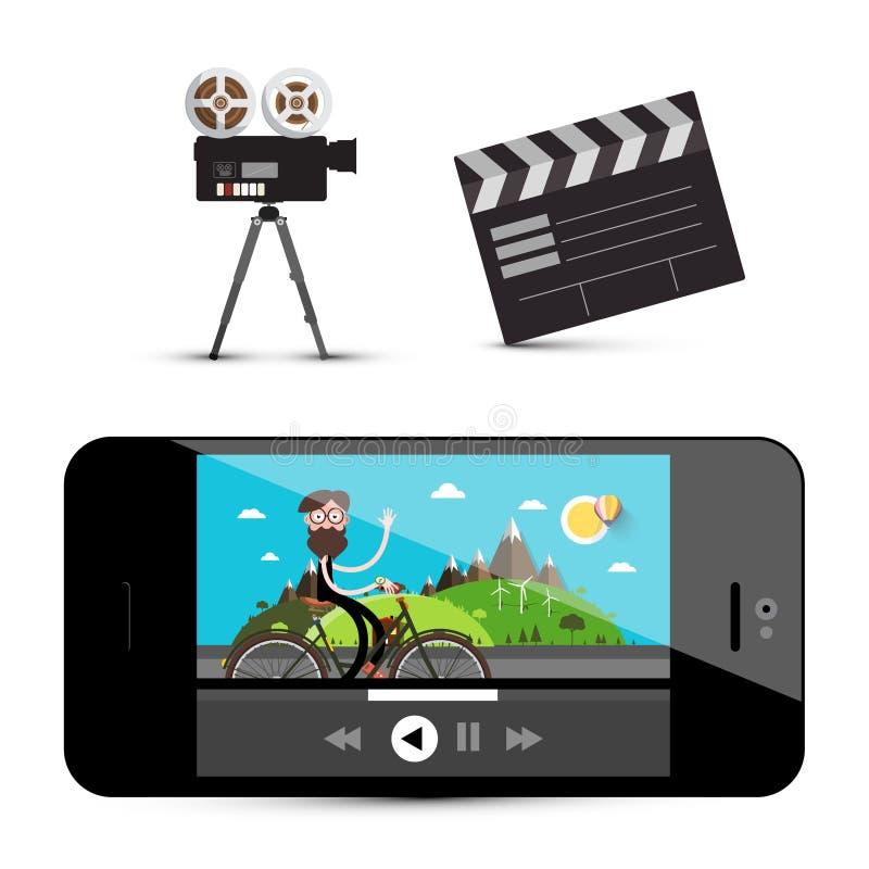 Film-Spieler auf Smartphone, Kamera und Scharnierventil stock abbildung