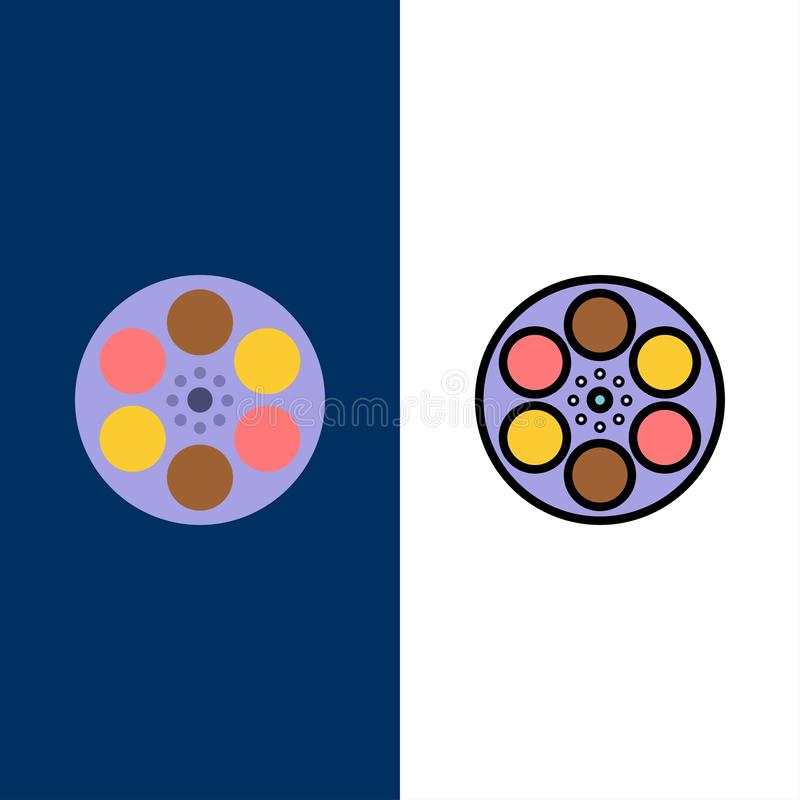 Film, Film, Spoel, Tank, Bandpictogrammen Vlak en Lijn vulde Pictogram Vastgestelde Vector Blauwe Achtergrond stock illustratie