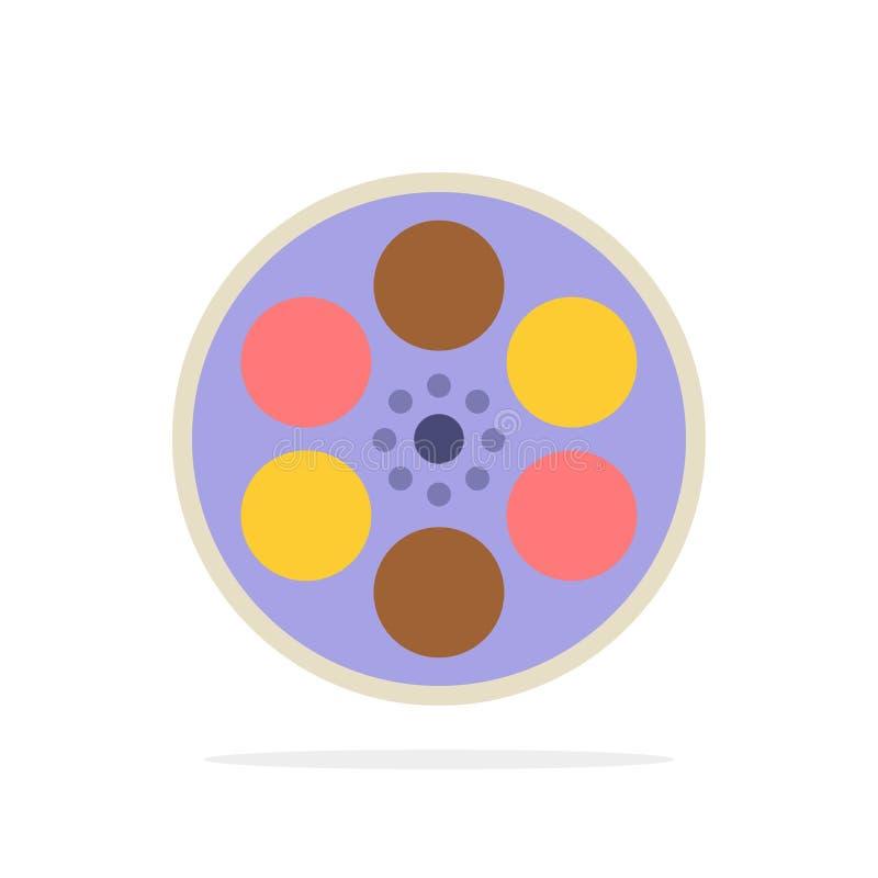Film, Film, Spule, Behälter, flache Ikone Farbe des Band-Zusammenfassungs-Kreis-Hintergrundes lizenzfreie abbildung
