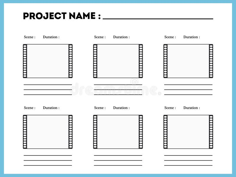 Film storyboard composition scene template. Episode action title vector illustration