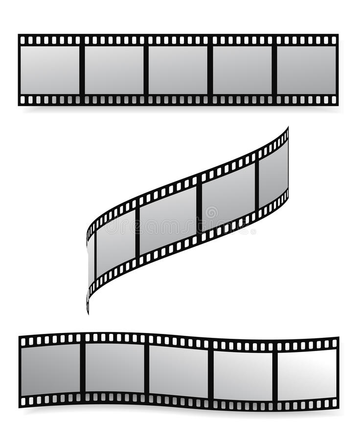 Film strip. Vector film strip with empty frames stock illustration