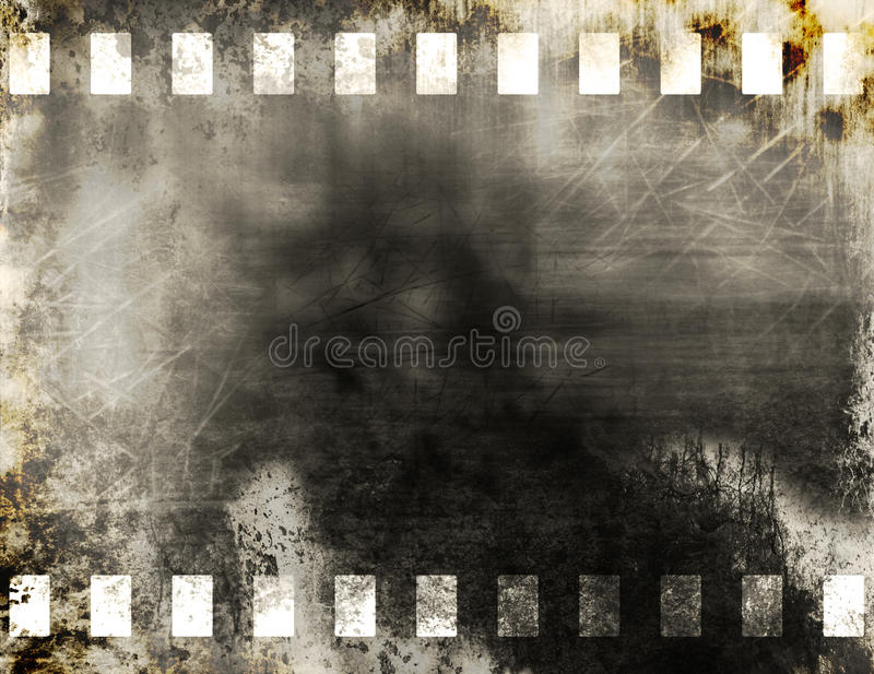 Film strip. Grunge old film strip background stock illustration
