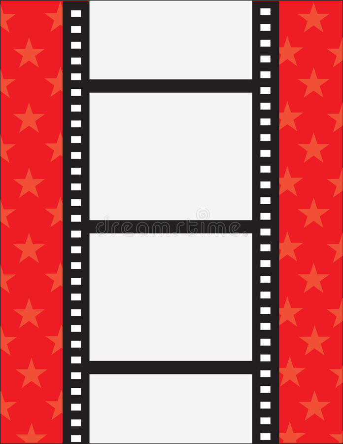 Film Strip. A film strip with spaces for text on a red background with stars stock illustration
