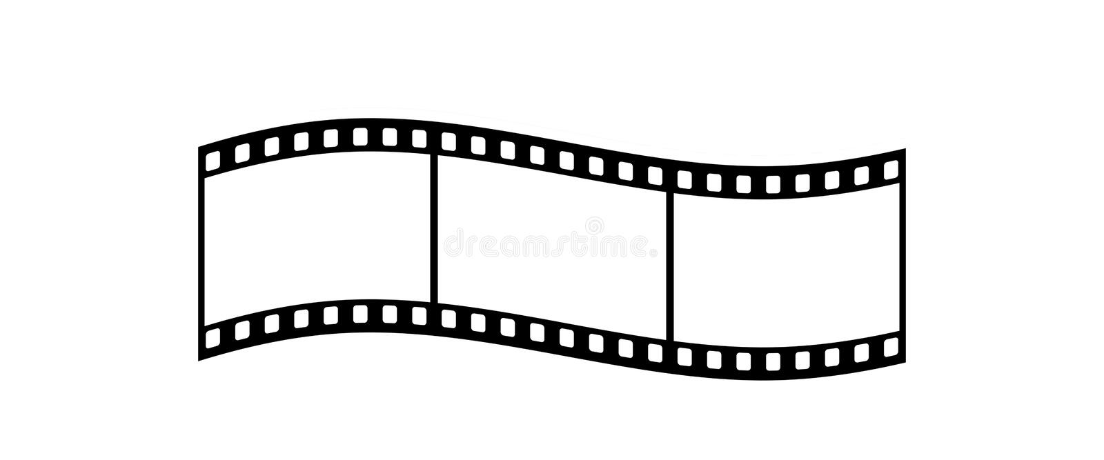 Film Strip. Curled Film Strip With Three Frames, 35mm Format, White Background vector illustration