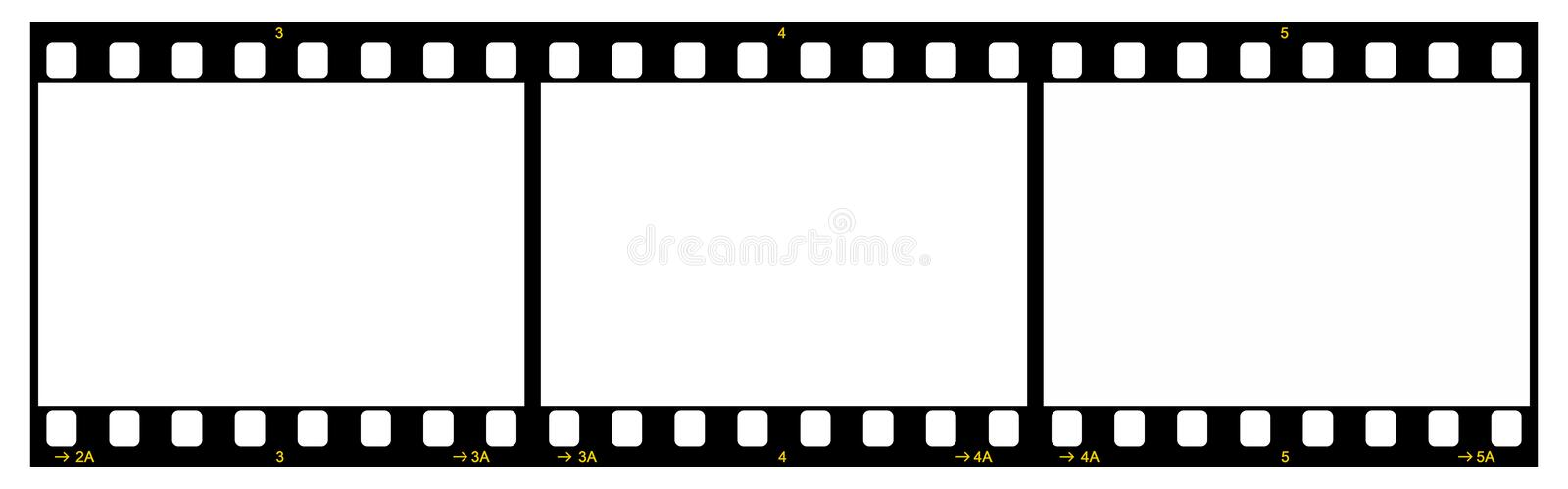 Film Strip. With Three Frames, 35mm Format, Yellow Numbers, White Background vector illustration