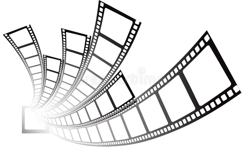 Film strip. Design - film coming from role stock illustration