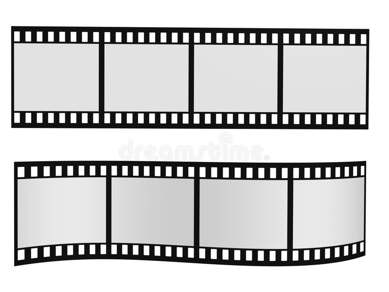 Film strip. Two film strip with blank frames isolated on white vector illustration