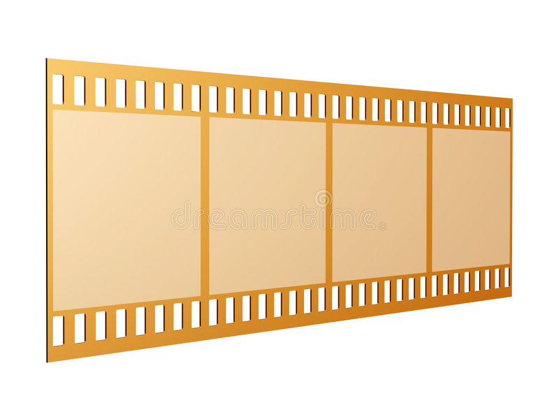 Film strip. Golden film strip isolated on white royalty free illustration