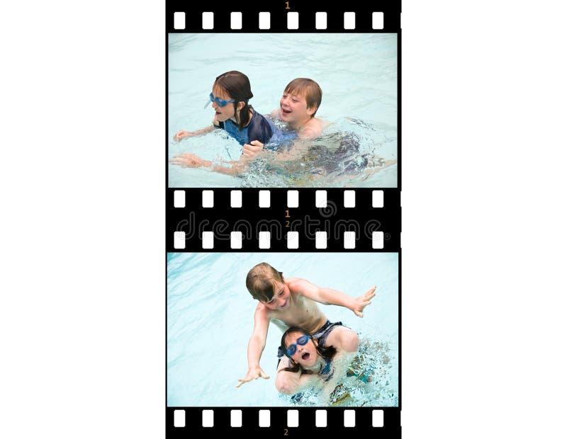 Film Strip Action Kids Swimming royalty free stock photos