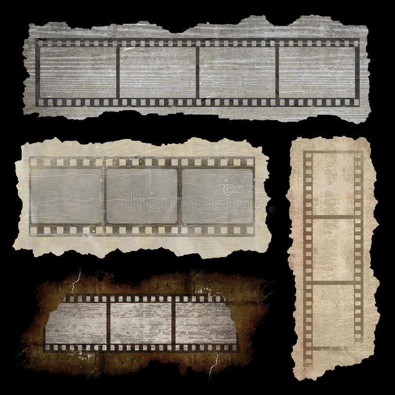 Film strip banners. Collection of four banners with film strip in grunge style isolated on black background royalty free illustration