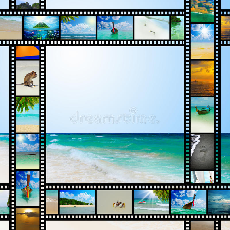 Film strip with beautiful holiday pictures royalty free stock photography