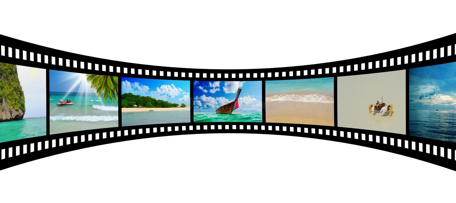 Film strip with beautiful holiday pictures vector illustration
