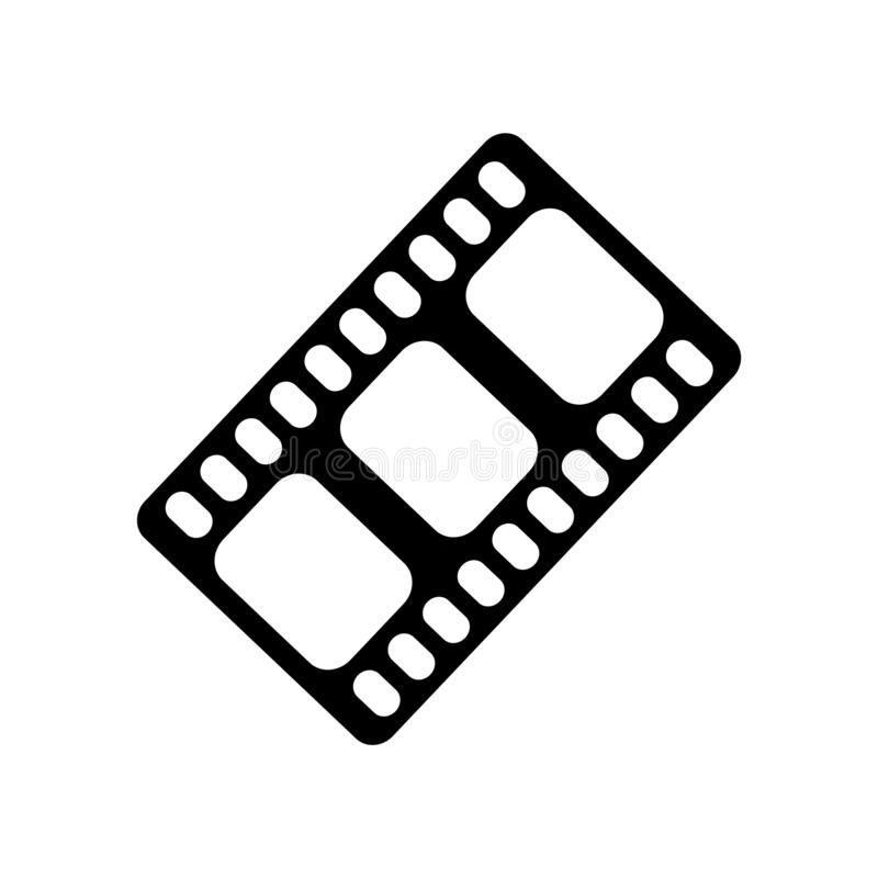 Film strip black icon vector sign and symbol isolated on white b vector illustration